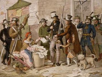 Free Speech - The first uncensored newspaper is sold in the streets of vienna after the revolution of 1848